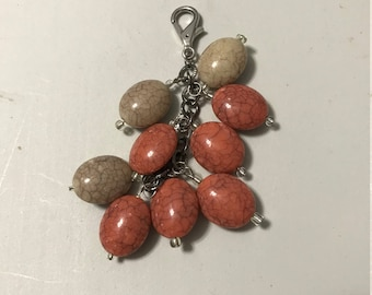 Tan and salmon colored beaded purse bling jewelry accessory