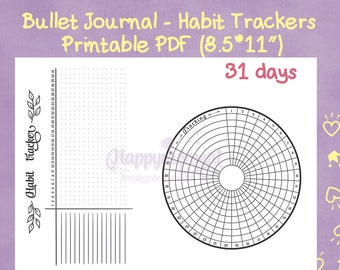 Bullet Journal Habit Trackers Printable Sticker | Circular and Horizontal Tracker for your Bujo | BuJo inserts - BuJo stickers