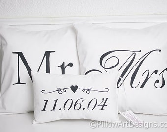 Cotton Anniversary Mr Mrs Pillow Covers with Mini Wedding Date Pillow Black and White Fully Lined Made in Canada