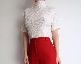 VINTAGE White Lace Blouse 1990s Mock Neck Top Shortsleeve Medium
