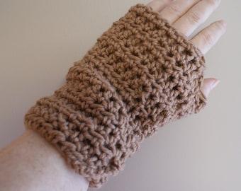 Crochet Mittens, Mens Hand Warmers, Tan Winter Mittens, Fingerless Gloves, Texting gloves, Tan Mitts, Brown Gloves, Womens Gloves