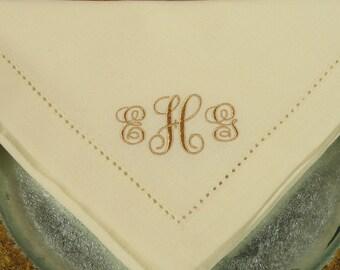 6 Monogrammed Napkins in the Elegant Font