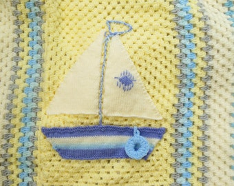 Baby Blanket Crochet, Boat Blanket, Baby Boy Ocean Theme Nursery in Blue, Yellow & Cream Wool Ideal for Baby, Infant, Toddler Gift