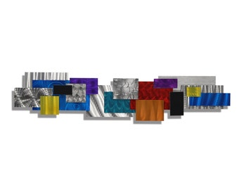 Large Contemporary Geometric Metal Wall Decor, Multi Color Modern Metal Wall Art, Abstract Metal Wall Sculpture - Impromto by Jon Allen