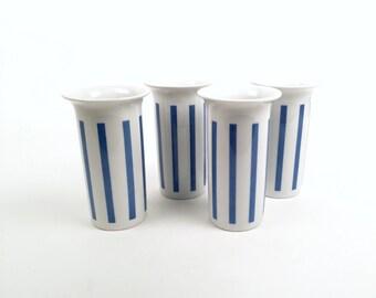 La Gardo Tackett Tumblers: Set of Four in Blue and White Striped Pattern