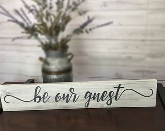 """Farmhouse Sign """"Be Our Guest"""" with CUSTOMIZED Colors & Size! Magnolia Farms Sign"""