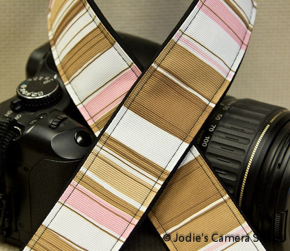 """Camera Strap Stripes Pink and Brown in 1.5"""" Wide Custom Padded Fits DSLR SLR 3370"""