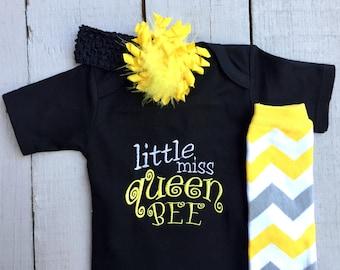 Baby Girls' Clothing, Girls' Clothing, Baby Girl Clothing Set, Little Miss Queen Bee, Baby Girl Bodysuit, Baby Leg Warmer, Baby Shower Gift