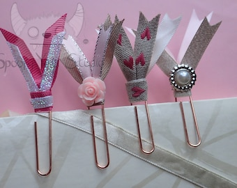 4 Rose Gold Large Double Ribbon Paper Clips *pink/PEARL/wedding/RUSTIC/chic/ROSE * For Planners & Scrapbooking.