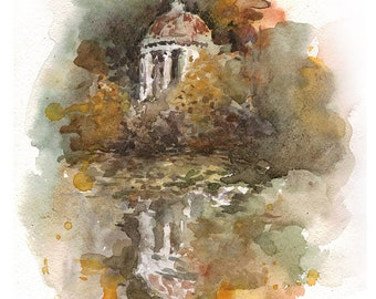 Old pavilion in the autumn garden, original illustration