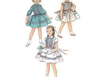RESERVED for Ruhi -- 1950s Girls Party Dress with Full Skirt & Pin Tucked Bodice, Size 4 Simplicity 2322 Vintage Sewing Pattern