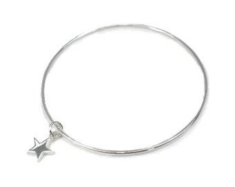 Sterling Silver Bangle with Star Charm Solid Plain Stacker Slave Golf bracelet Sterling Silver 925