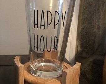It's 5 o'clock somewhere! Happy hour pint glass