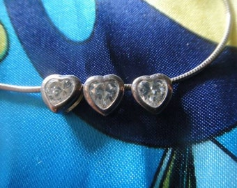 Vintage jewerly heart dangle necklace dangle trio heart necklace statement 925 silver Silver Necklace heart necklace