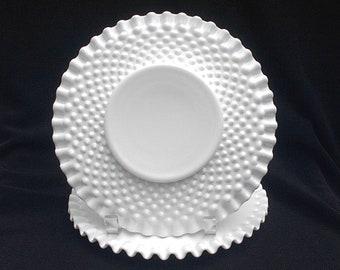 "TWO Fenton Milk Glass Hobnail 8 1/2""Salad  Plates Ruffled Crimped 3912 MI"