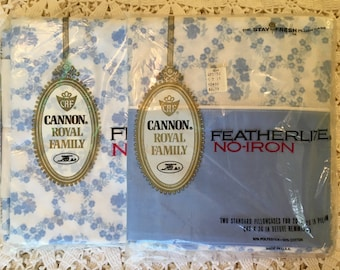 Cannon Royal Family Cameo Rose - Blue  - Full Size Flat Sheet & Cases Set New in Package - NOS