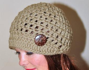Brim Hat Brim Beanie Newsboy Cap Coffee Brown Crochet Winter Women Girly Christmas Gift under 50