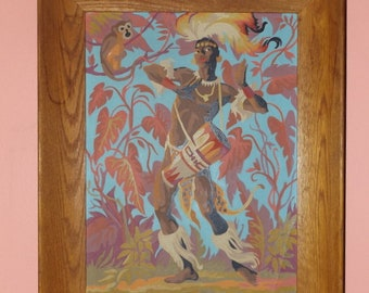 African Jungle Warrior Paint By Number 50's Kitsch Art Tiki Room Large Framed