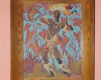 Afrikanischen Dschungel Krieger malen nach Anzahl 50er Jahre Kitsch Kunst Tiki Zimmer groß gerahmt
