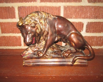 Antique Cast Plaster Sculpture of Ferocious Lion with His Kill