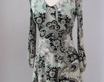 Vintage Dress 60s Psychedelic Dolly Dress Ultra Mini Go-Go Dress Minty Green Boho Mini Dress XS S