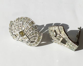 Vintage 1950s Signed Collection of two scarf clips rhinestones costume jewelry