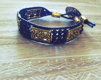Wrap bracelet, black, gold, gold, leather, boho, gift, Crystal, Bohemian, made with love