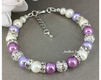 Purple Pearl Bracelet Lavender Wedding Purple Bracelet Bridesmaid Bracelet Bridesmaids Gifts Maid of Honor Gift Lavender Lilac