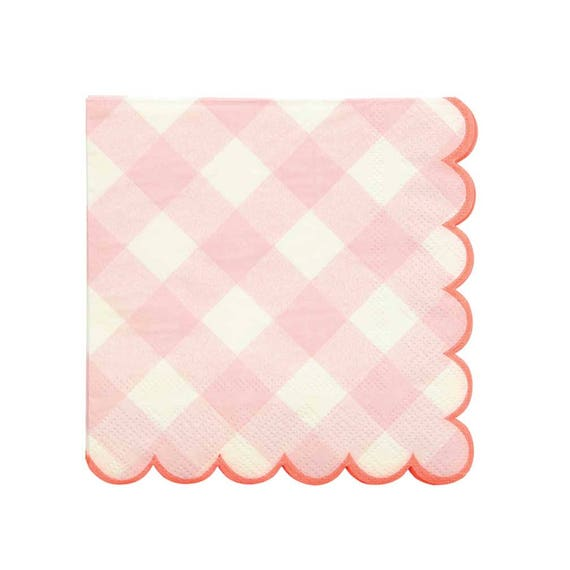Pink Gingham Plates Large Blush Pink Party Plate Paper Plates (12) Girl Baby Shower Birthday Party Supplies Bridal Shower Spring Decor  sc 1 st  Etsy & Pink Gingham Plates Large Blush Pink Party Plate Paper
