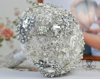 Silver Bouquet, White Bouquet, Bridal Bouquet, Crystal bouquet, Charm Bouquet, Brooch bouquet, Broach Bouquet, Jeweled Bouquet, Wedding