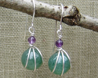 Green Aventurine Stone and Amethyst Sterling Silver Earrings - Wire Wrap Stone Jewelry, Stone Earrings, Mother's Day Gift for Women