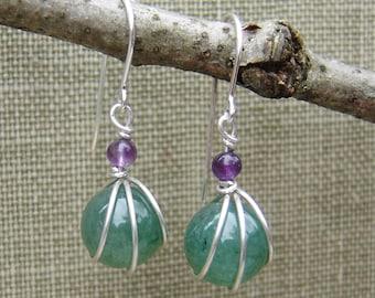 Green Aventurine Stone and Amethyst Sterling Silver Earrings - Wire Wrap Stone Jewelry, Stone Earrings, Green Earrings Gift for Women