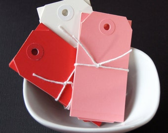 30 Medium Parcel Shipping Tags . Red, Pink, White . Valentine Mix . 3.75 x 1.875