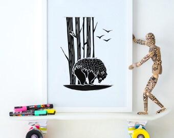 Bear linocut A4 print, black and white, wall art, nature print, wall decor