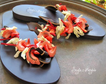"Mother of pearl - Red and white shells- Leather sandals - Flip Flops  ""Strawberry Daiquiry"""