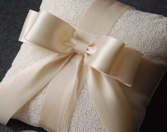 Ring Bearer Pillow - Ivory Ring Bearer Pillow with Lace Overlay and Ivory Ribbon Bow - Katherine