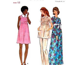 Maternity Dress, Tunic, Pants Pattern Butterick 6697 Mini Or Maxi Dress Tucked Front Top Bust 34 Vintage Pattern