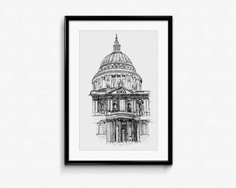 St Pauls Cathedral Drawing limited edition print - 1/100