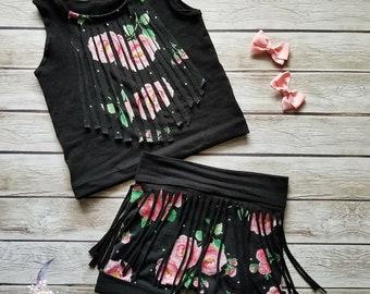 Boho Fringe Floral Black Shorts Tank Top Set Girls Baby Toddler
