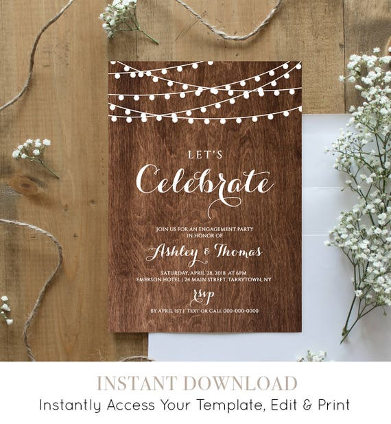 Engagement Party Invitation Template, Printable Engagement Announcement, String Lights, 100% Editable, Instant Download, Templett #014-102EP