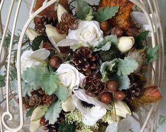 Rustic Woodland Autumn Brides Wedding Bouquet Pine Cone Acorn Twig