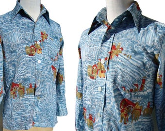 Vintage 70s Disco Shirt Blue Colonial Novelty Print Polyester M