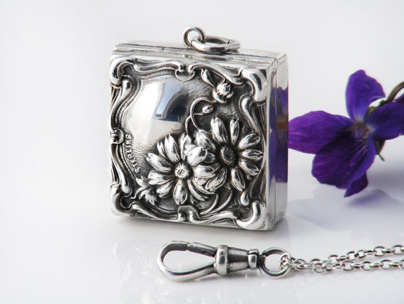 Antique Locket | Art Nouveau Daisies Sterling Silver Box Locket | Pill Box Locket | Chatelaine Stamp Case - 30 Inch Sterling Chain, Fob Clip
