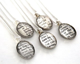 Word of the year Vintage Dictionary Necklace, Book Page Jewelry, Custom Word, Wedding Party Gifts