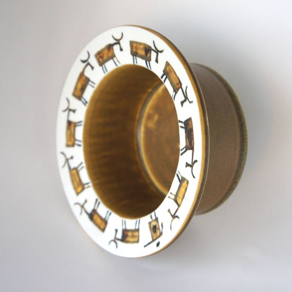 Lisa Larson Cattle and Man Bowl part of 1960 THALIA series for Gustavsberg Sweden Studio Pottery Art Pottery Bowl Dish Wine Coaster.