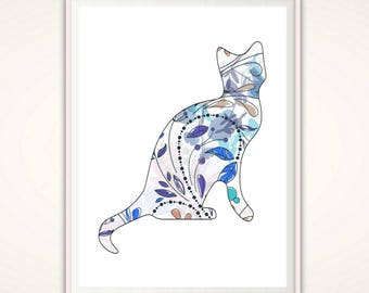 Cat Lady Gifts , Cat Art Print, Cat Wall Art, Cat Lover Gift, PRINTABLE Cat Poster, Nursery Cat Art, Animal Art, Leaf, Gift for Her, Wife