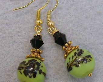 Vintage Japanese Lime Green Black Tombodama Glass Bead Earrings Dangle Drop, Vintage Black Crystal Beads, Gold French Ear Wires-GIFT WRAPPED