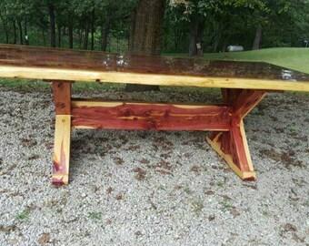 Cedar Table, X Frame Dining Table, Cedar Dining Table, Picnic Table, Farm Table, Live Edge, Outdoor Table