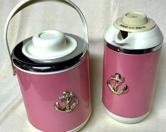 Vintage Nautical Ice Bucket and Thermos