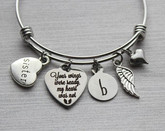Sister - Your Wings Were Ready My Heart Was Not Bracelet, Sister Memorial Bracelet, Sister Loss Jewelry, Sister Memorial Jewelry, Sister